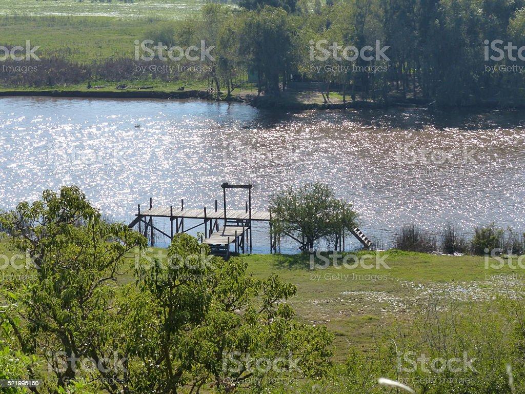 Wood river dock stock photo