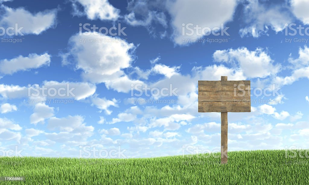 Wood road sign on the grass royalty-free stock photo
