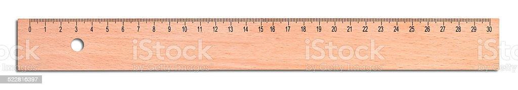 Wood ruler stock photo
