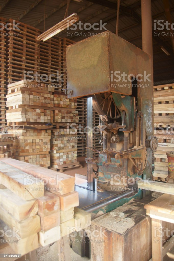 Wood saw and pallets stock photo