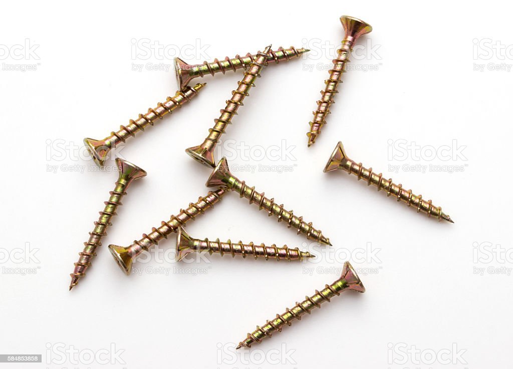 wood screws isolated stock photo