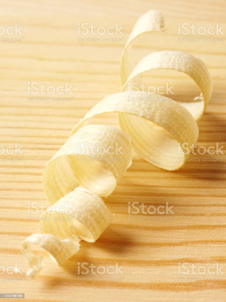 Wood Shaving on a Wooden Floor stock photo