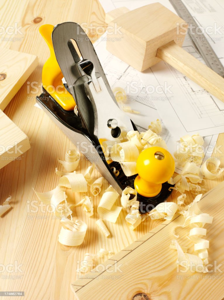 Wood Shavings and a Plane royalty-free stock photo