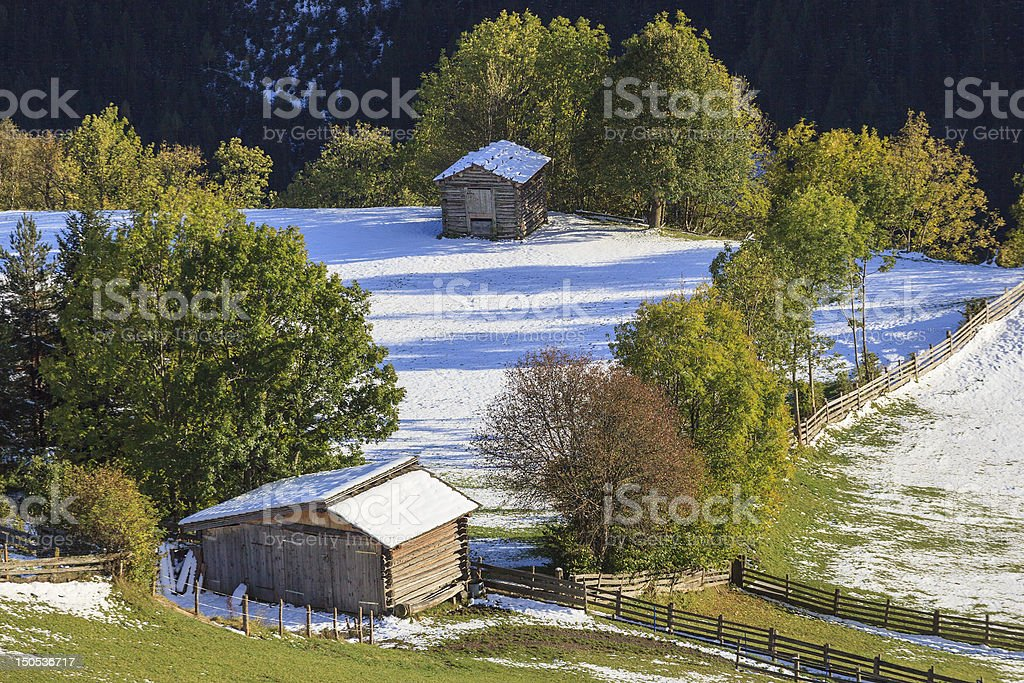 Wood shed stock photo