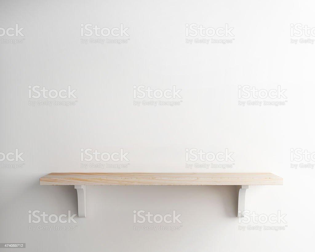 wood shelf on white wall background stock photo