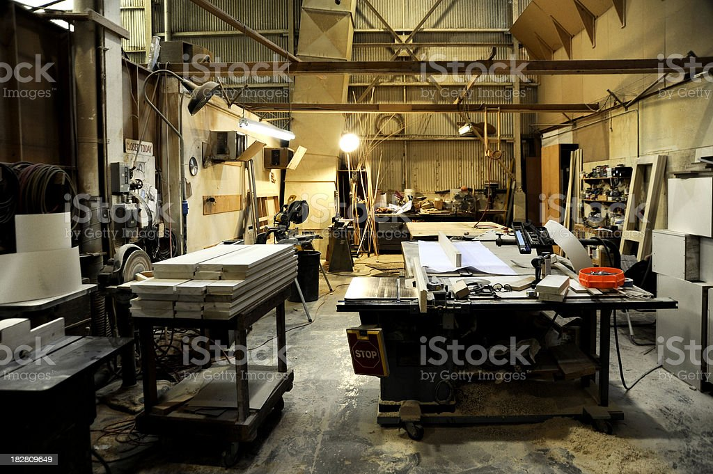 Wood shop with nobody working royalty-free stock photo