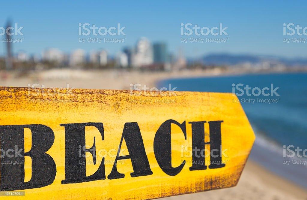 Wood Sign Beach stock photo