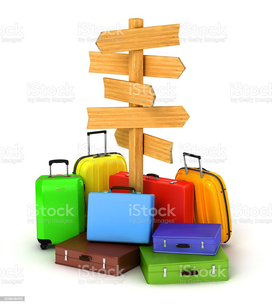 wood sign board and travel bags stock photo