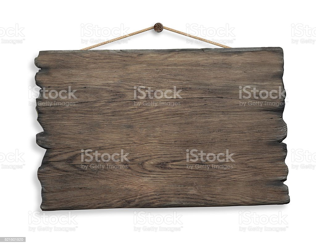 wood sign hanging on rope and nail isolated stock photo