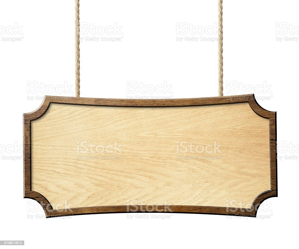 wood sign hanging on ropes isolated stock photo