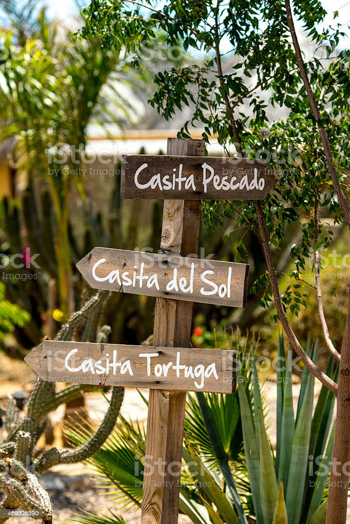 Wood Signs with Mexican Home Names in South Baja stock photo