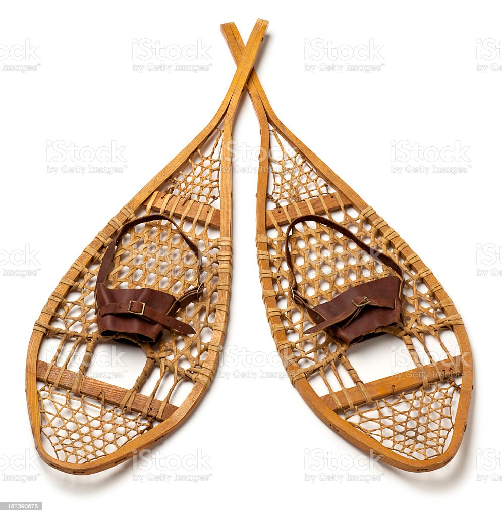 Wood Snowshoes Isolated on White Background. stock photo