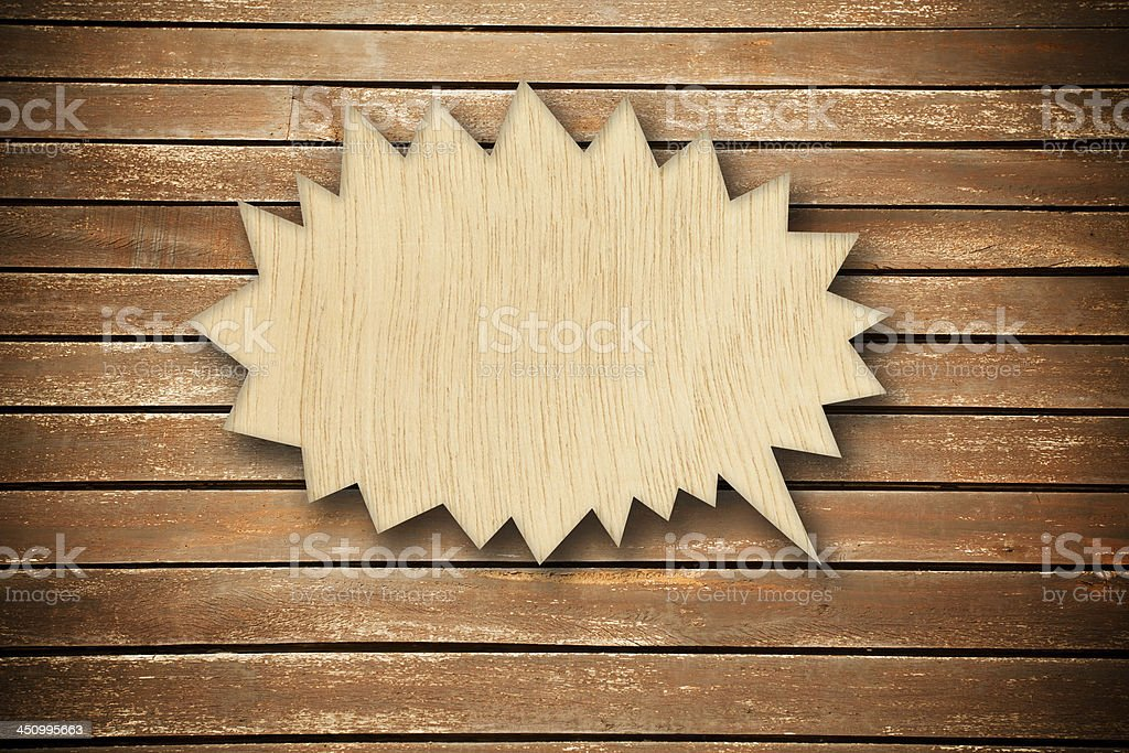 wood speech bubble royalty-free stock photo