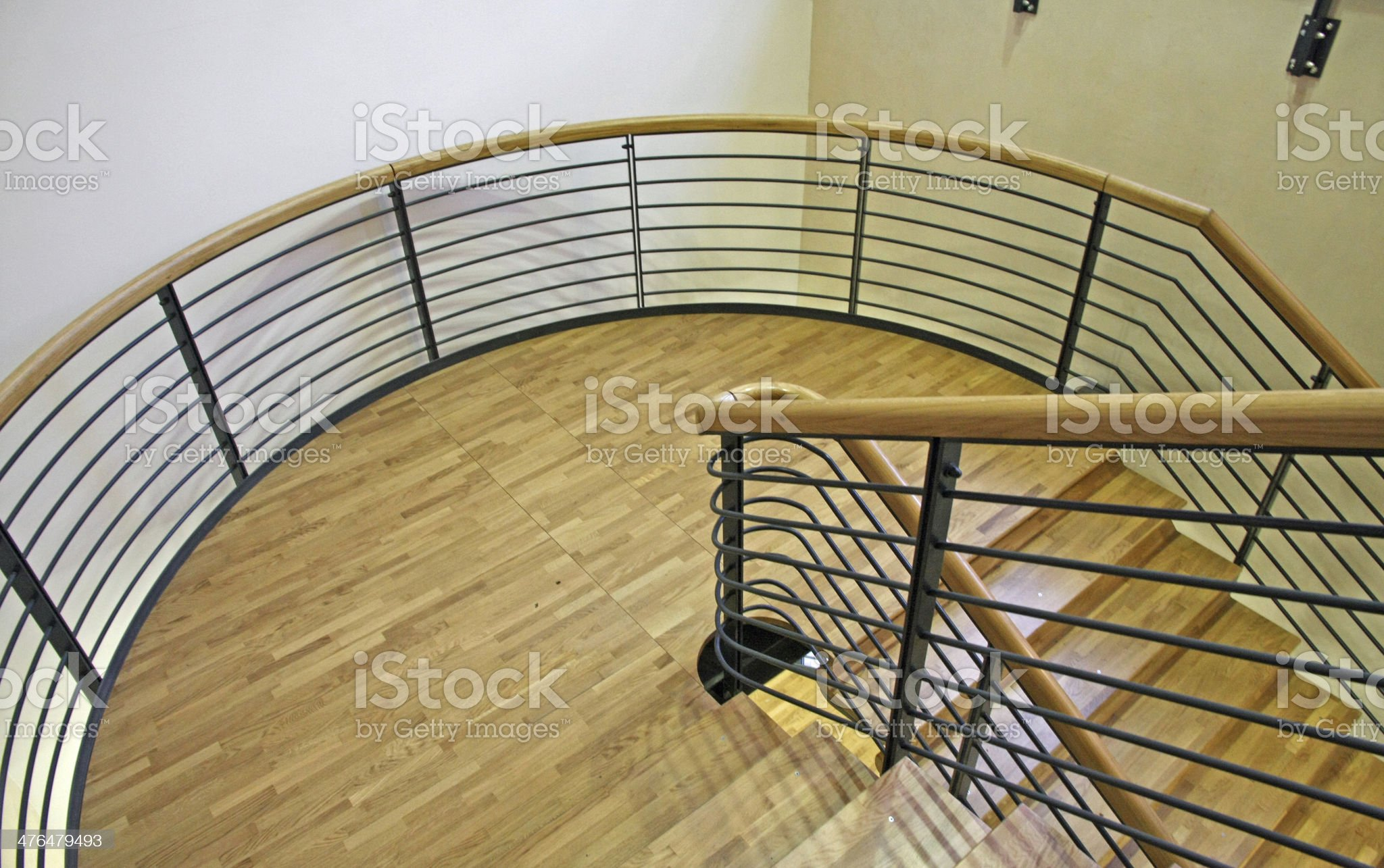 wood spiral staircase with very wide curve royalty-free stock photo