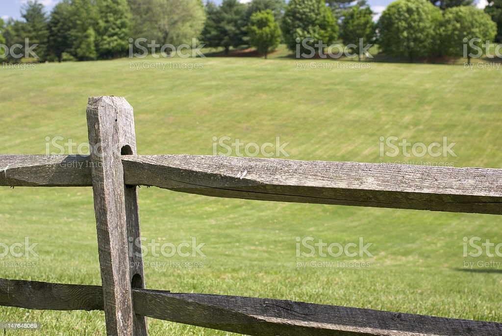Wood Split Rail Fence stock photo