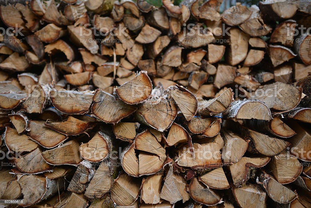 Wood Stack - Birch Wood stock photo
