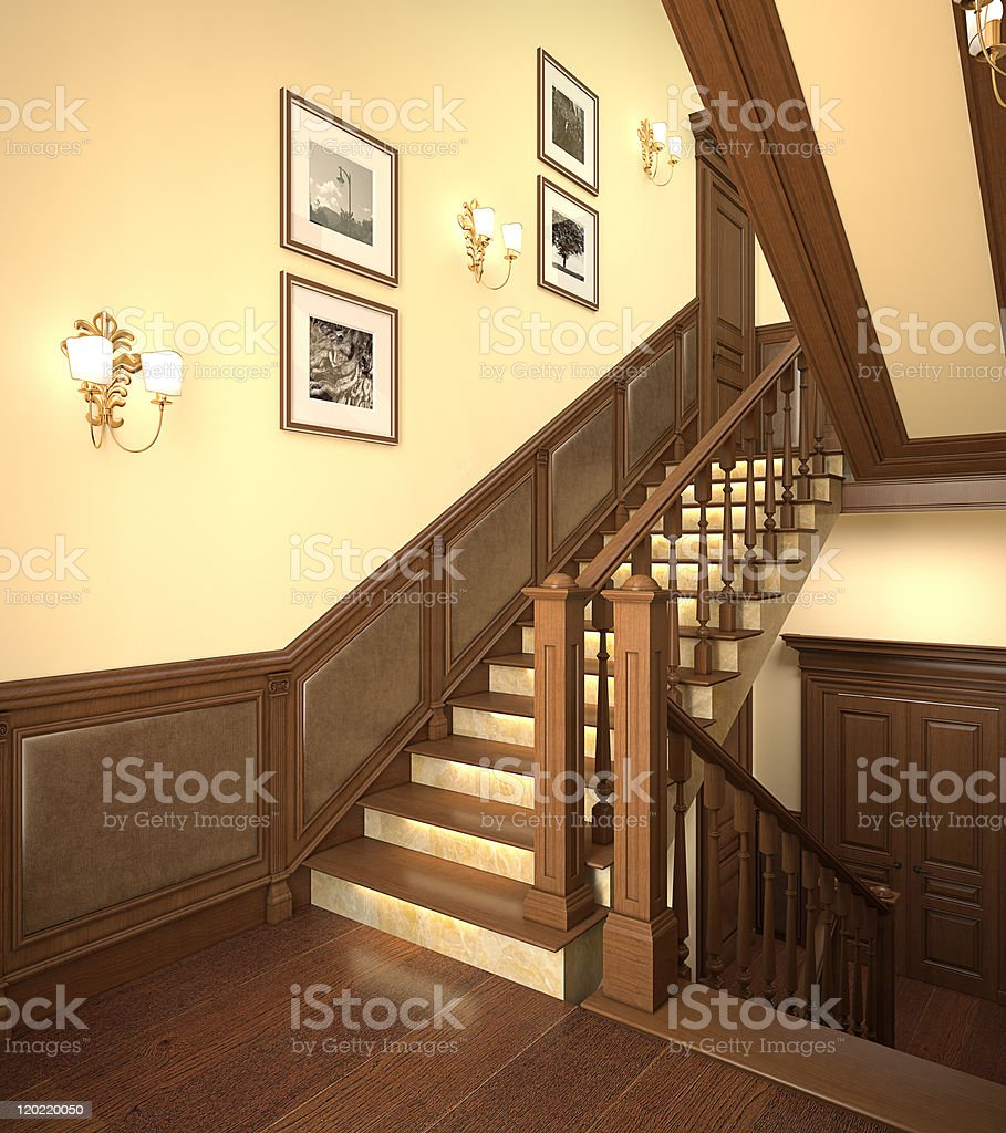 Wood stairs in the modern house. royalty-free stock photo