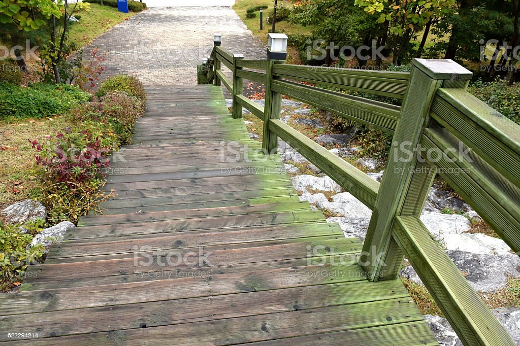 wood Stairs or Steps. stock photo