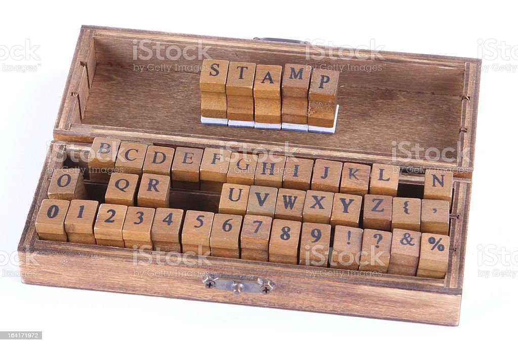 Wood stamp letters royalty-free stock photo