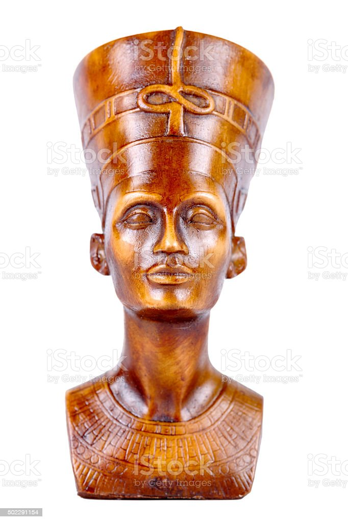 Wood statue of pharaoh on a white background . stock photo