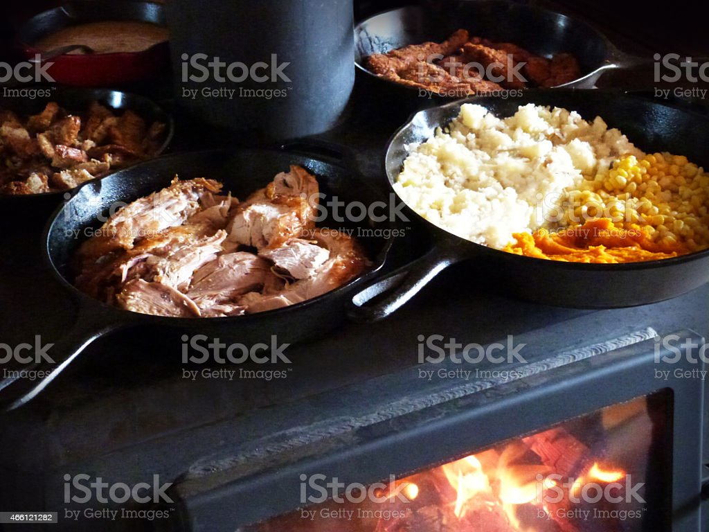 Wood Stove Chicken Dinner Home Cooking Healthy Lifestyle Meal stock photo