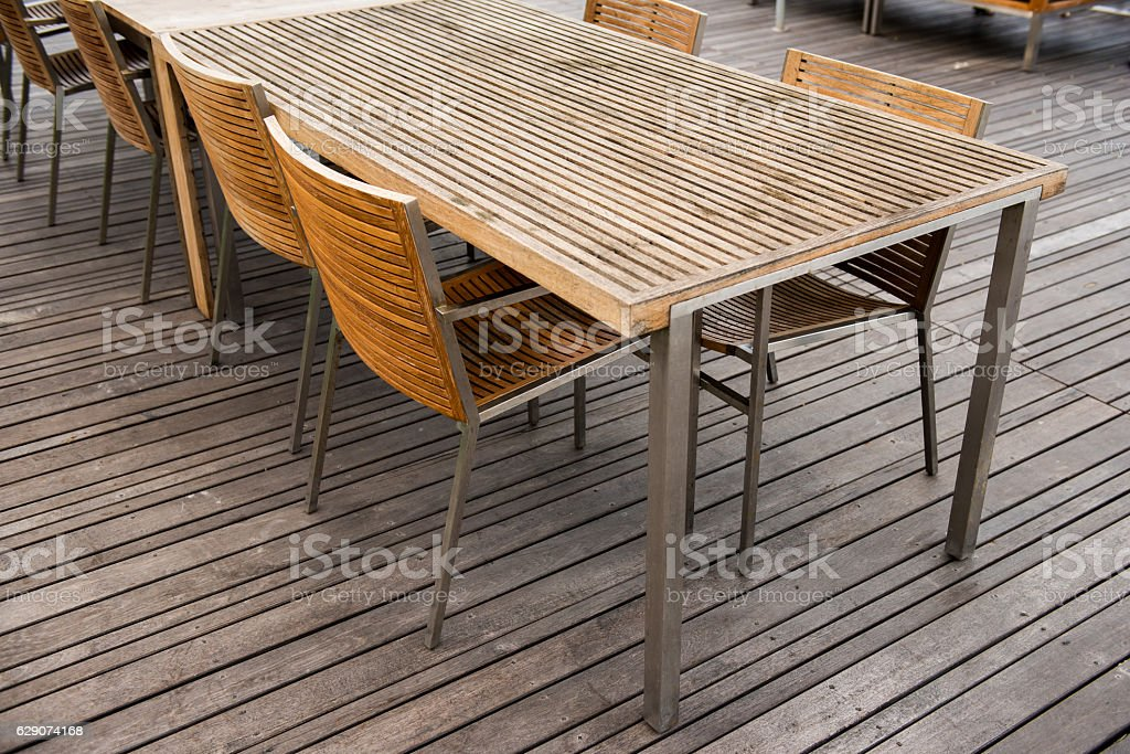 wood table and chair set stock photo