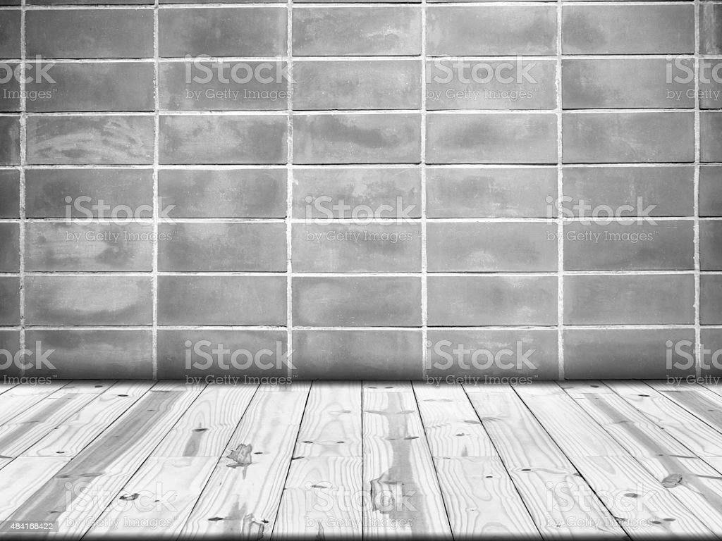 Wood table top on Old wall in square shape royalty-free stock photo