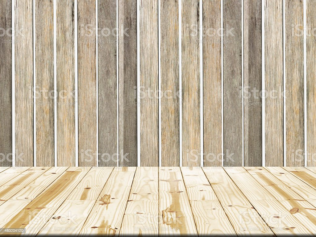 Wood table top on planks walls background royalty-free stock photo