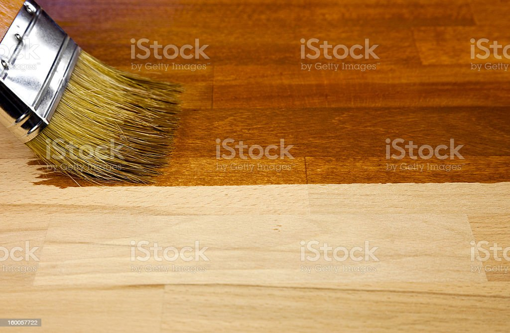 Wood texture and paintbrush / housework background royalty-free stock photo