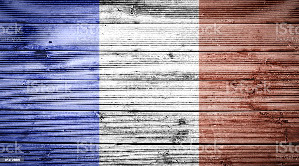 Wood texture background with colors the flag of France royalty-free stock photo