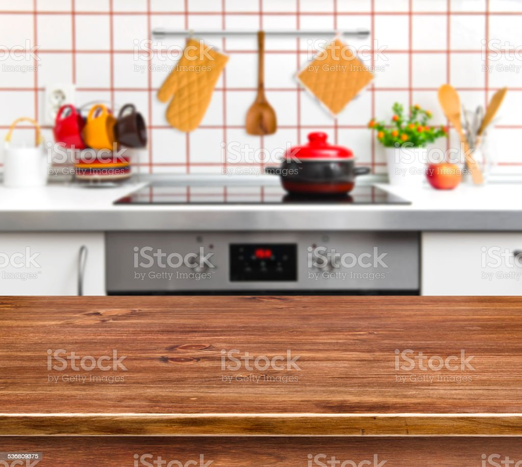Wood texture table on kitchen bench background stock photo