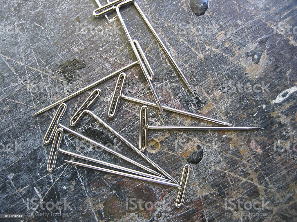 Wood Texture with Pins royalty-free stock photo