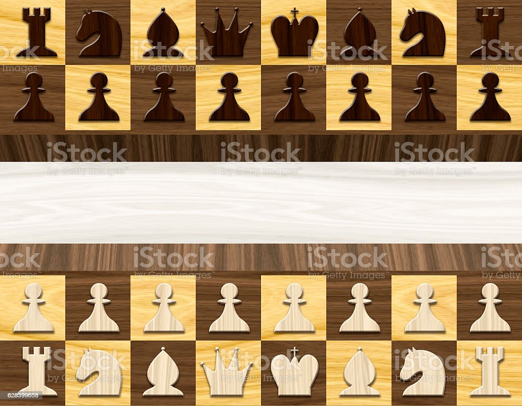 Wood textured background. Wooden Chess board with figures. stock photo