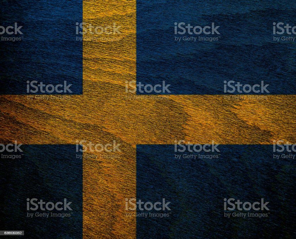 Wood Textured Flag -  Sweden stock photo