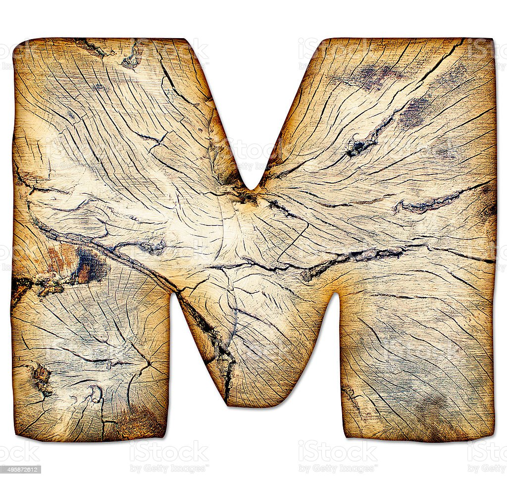 Wood textured grunge alphabet in handmade style, letter M stock photo