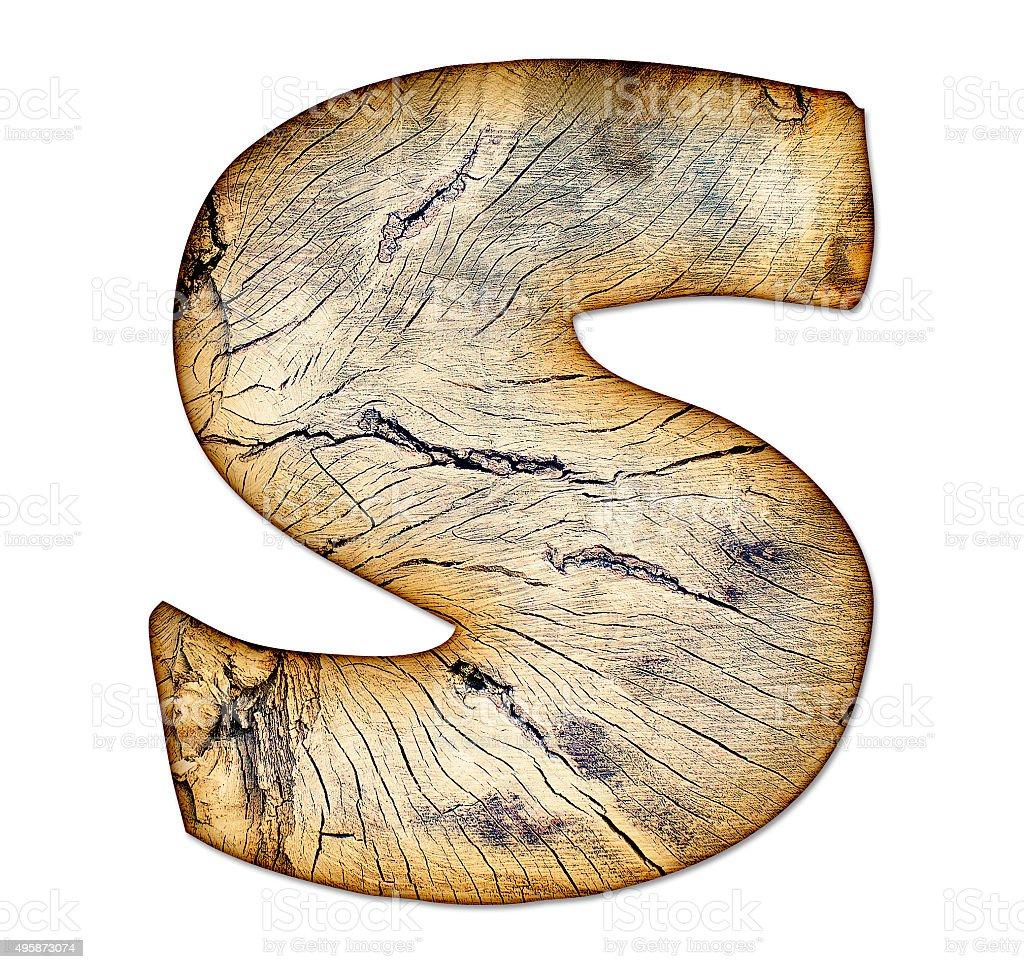 Wood textured grunge alphabet in handmade style, letter S stock photo