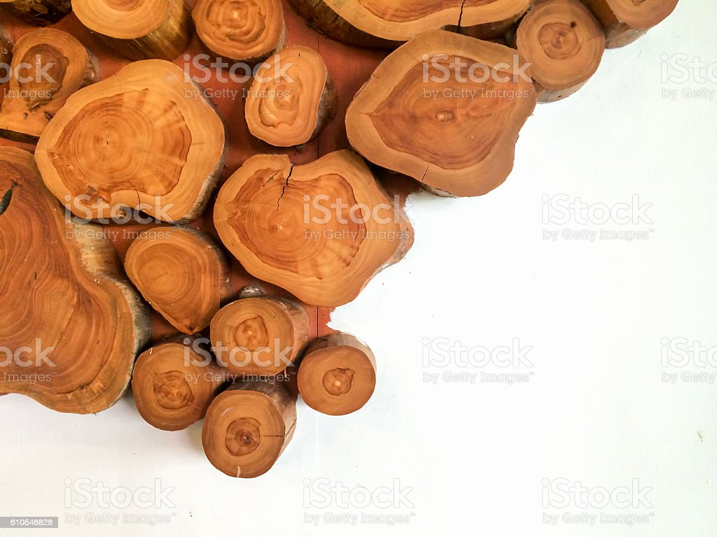 Wood timber on white wall stock photo
