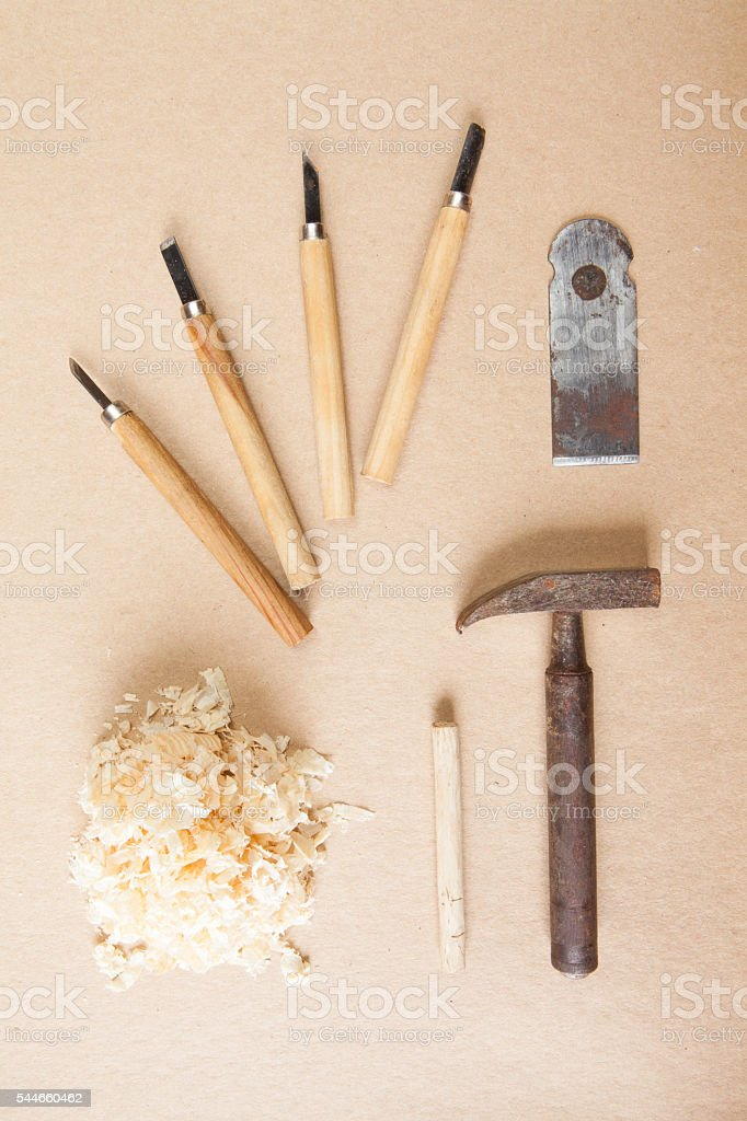 Wood tools arranged top view stock photo
