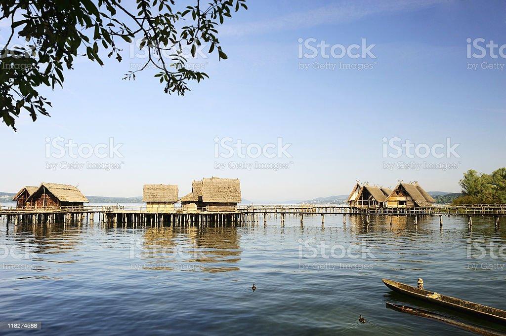 Wood Town at Lake Constance Unteruhldingen Coast View Summer stock photo