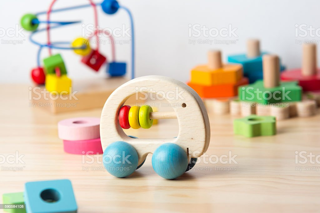 Wood toys stock photo