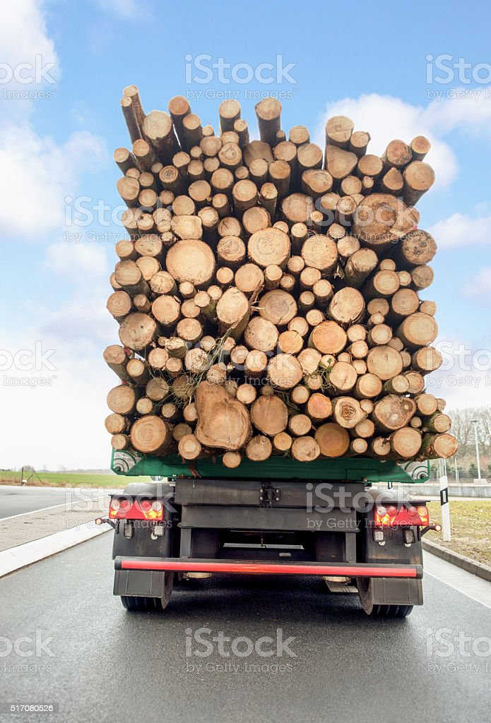 Wood transport stock photo