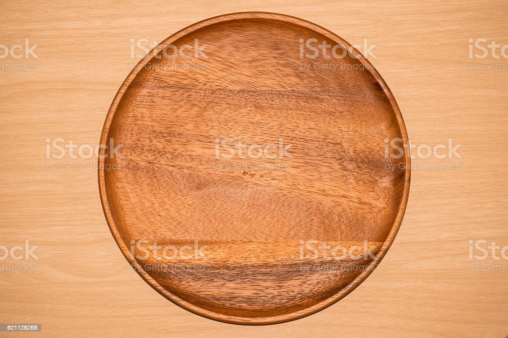 wood tray on table background stock photo