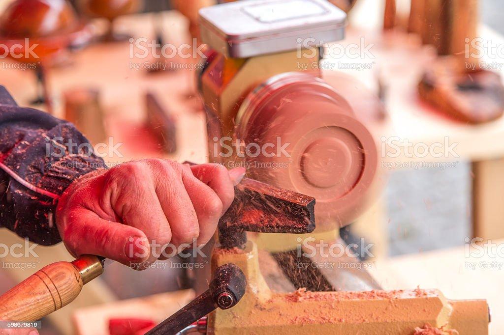 wood turner stock photo