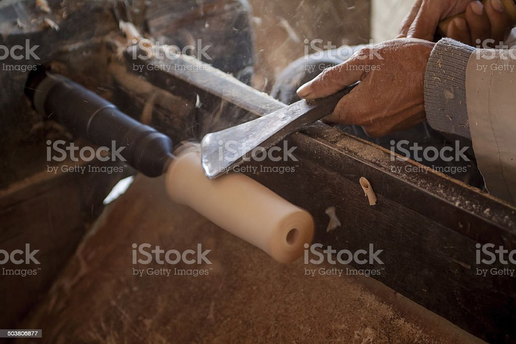 Wood turning stock photo