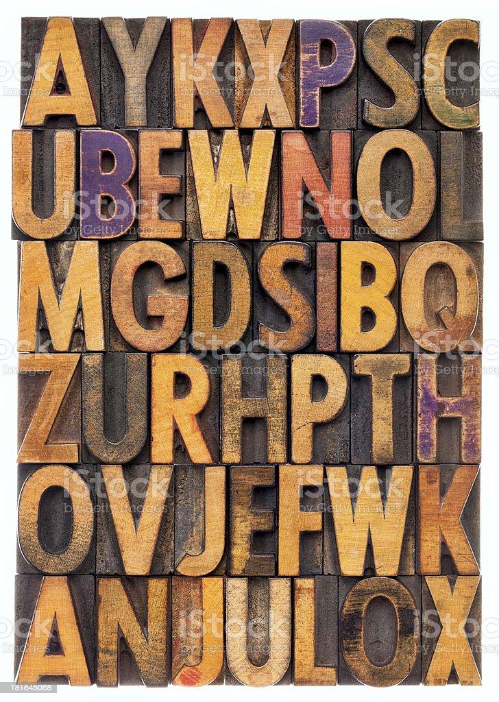 wood type alphabet royalty-free stock photo