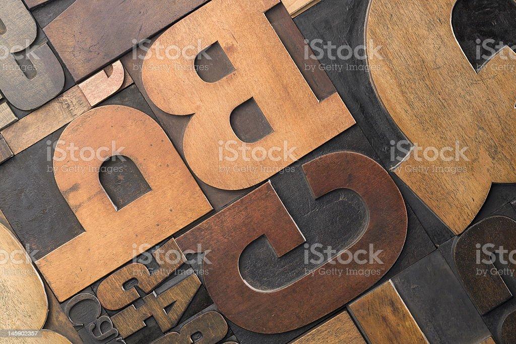 Wood type close-up royalty-free stock photo