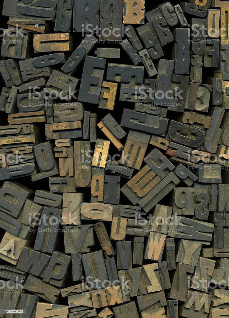 Wood Type for Letterpress Printing stock photo