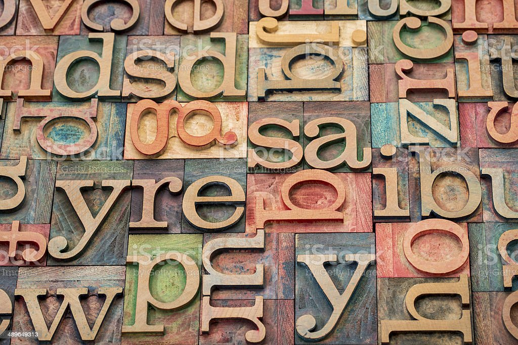 wood type printing blocks stock photo