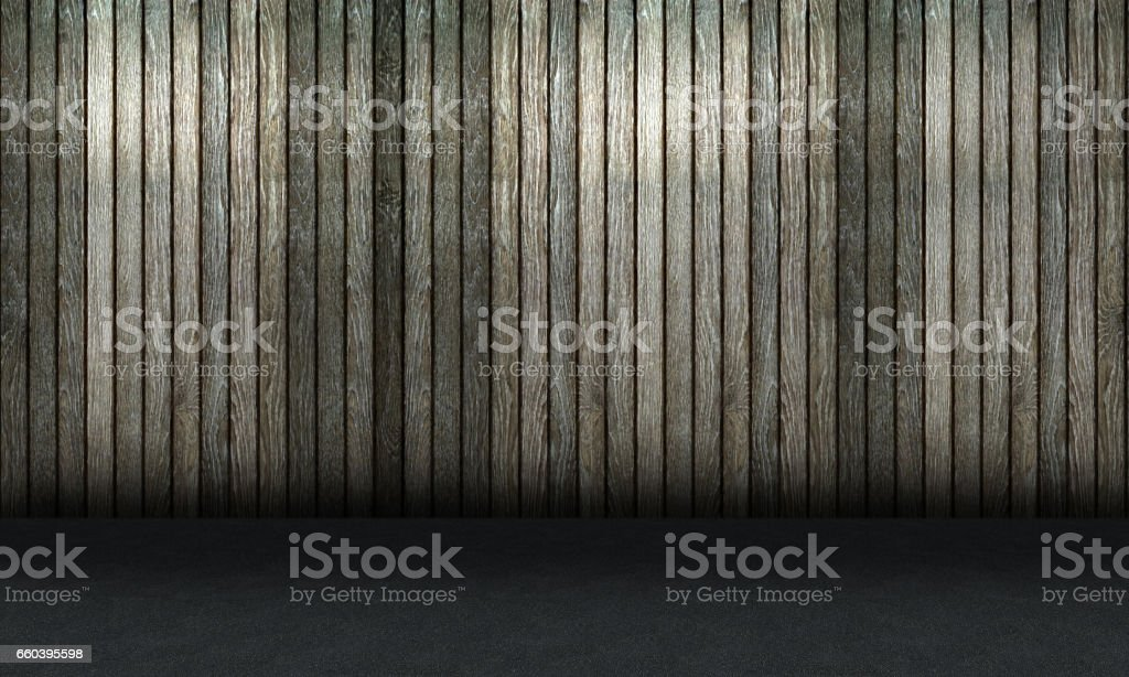 wood wall and concrete floor. stock photo