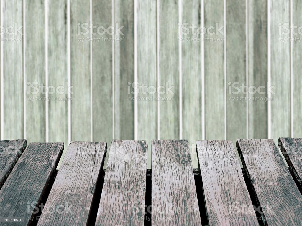 Wood wall blurred background and brown wooden floor. royalty-free stock photo